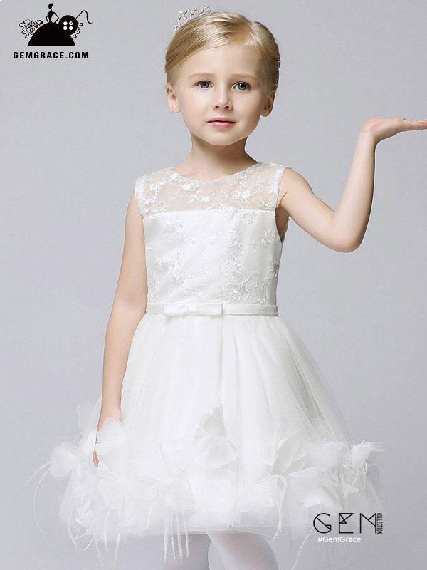 cb7b16b2240 Fairy White Applique Short Tulle Flower Girl Dress  EFS37 at GemGrace.   2019