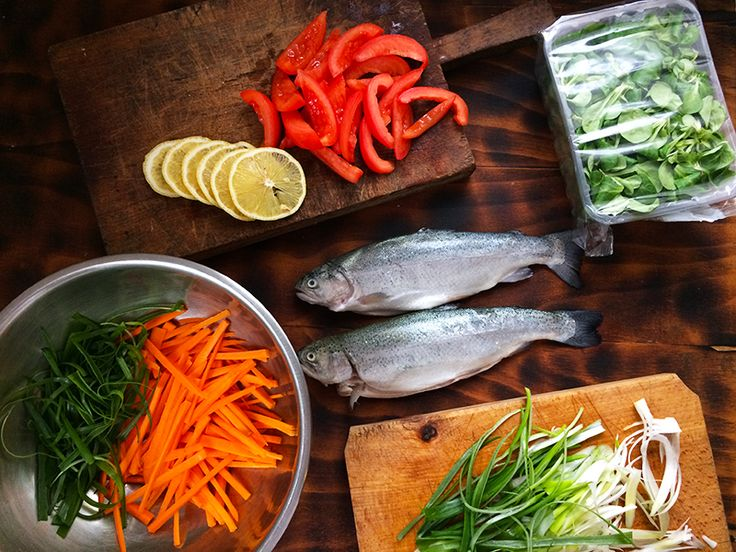 Trout en papillote in the making