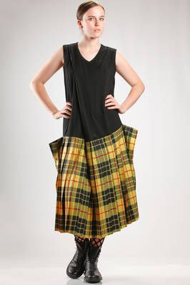 longuette dress with bodice in wool jersey and the skirt in wool tartan and polyester - 74