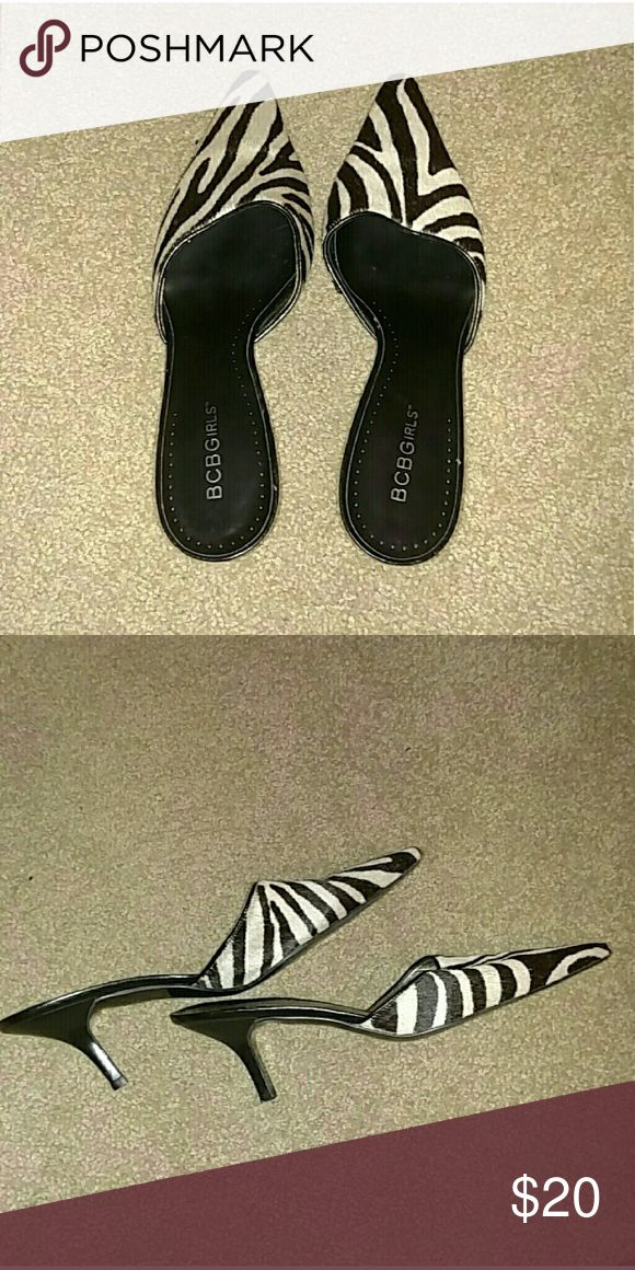 BCBGirls Zebra heels Excellent condition! Leather upper man made lining & sole.  Brand is BCB Girls, these are for women 😉 BCBGirls Shoes Heels