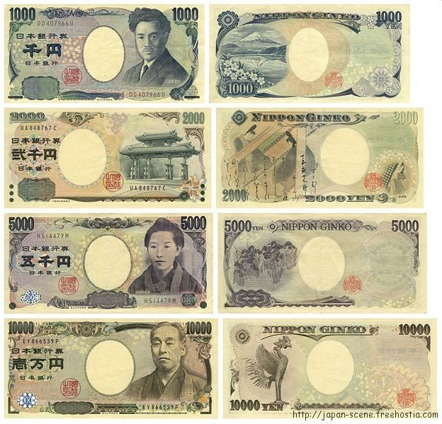 Japan's currency YEN(円), symbolized by ¥. Japan's bank notes - from the top 1,000 yen, 2,000yen, 5,000yen, and 10,000yen.