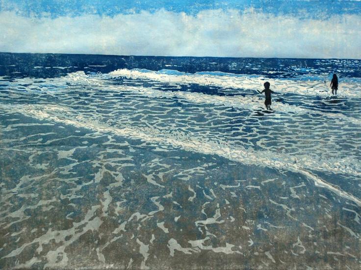 Time at the Shore, relief woodcut. Lisa Van Meter