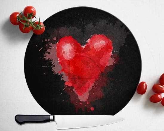 Tagliere rotondo in vetro Red Heart