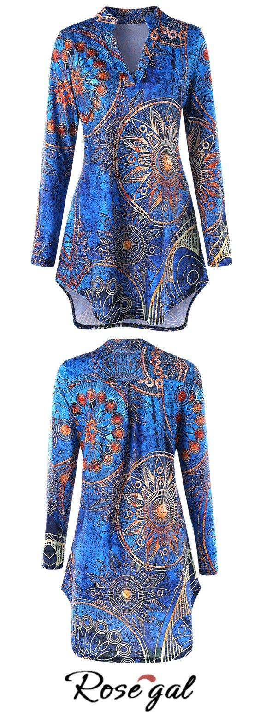 Free shipping worldwide.Plus Size High low Ethnic Print Tunic Tee.Spring fashion street style.#plussize #fashion