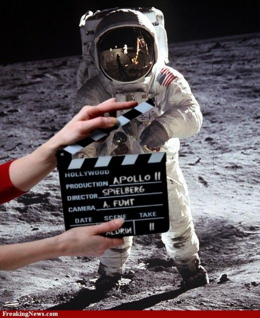 A spoof picture of the U.S. moon landing controversy
