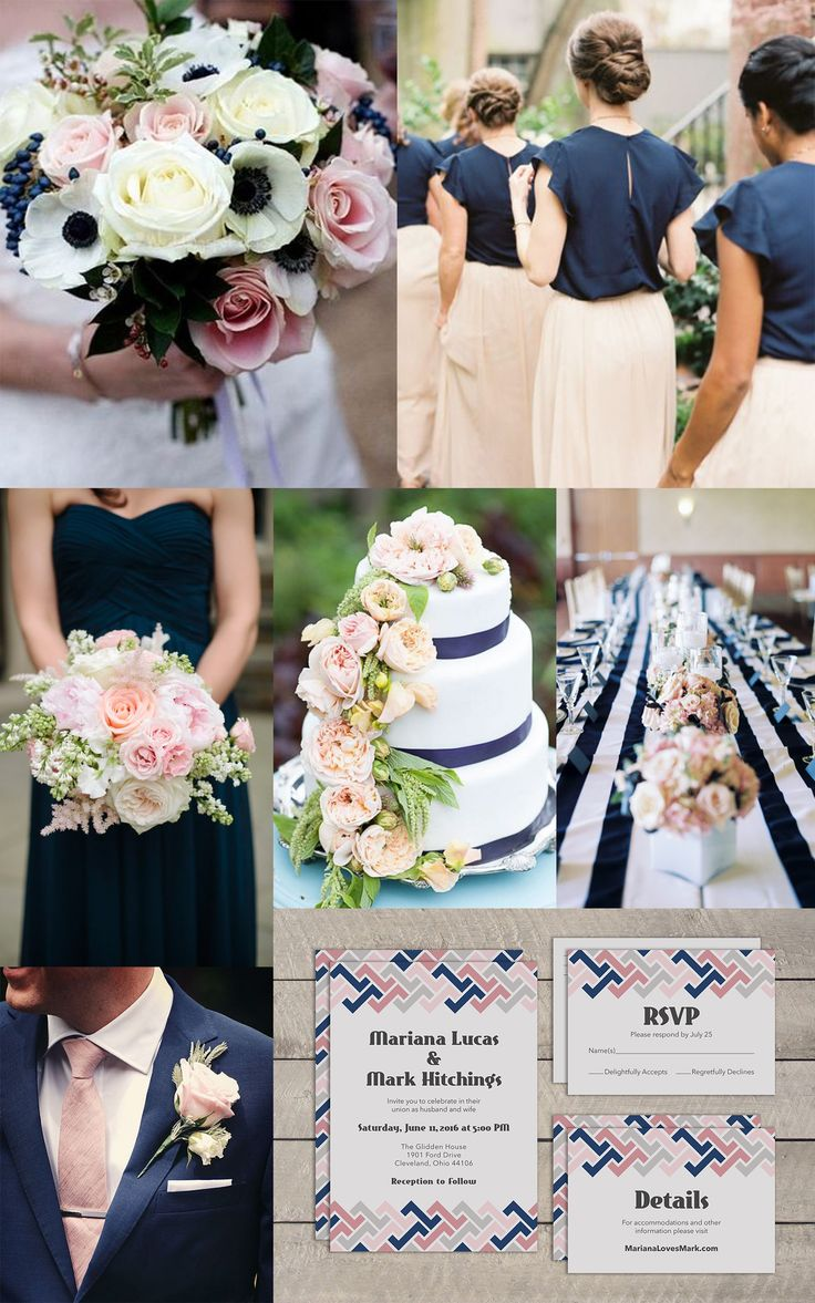 Blush Pink  Navy Blue Wedding Ideas From Top left