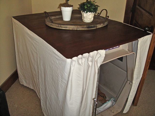 DIY Dog Crate Table Cover with Canvas Fabric sides.
