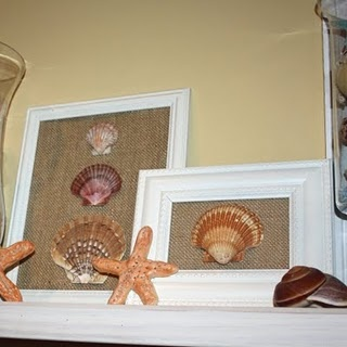 framed shells on burlap. Going to do this with my Oregon sand dollars