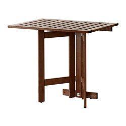 IKEA - ÄPPLARÖ, Mes pleg prd ext, Para ganar espacio, pliega la mesa cuando no la utilices.Se mantiene estable incluso en suelos irregulares, gracias a los pies regulables.Para prolongar la duración y conservar el aspecto natural de la madera, el mueble ha sido tratado con varias capas de barniz para madera semitransparente.