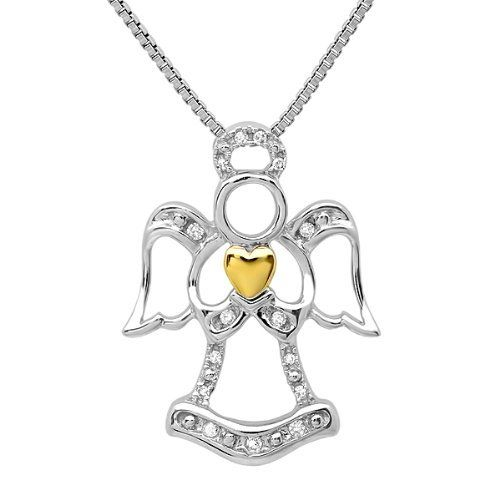 "Sterling Silver and 14K Gold Diamond Angel Pendant- Necklace on an 18in. Box Chain Amanda Rose Collection. $49.95. 18"" Sterling Chain. 14K Yellow Gold Plated Heart. .07cttw of genuine diamonds. Sterling Silver. All of our diamond suppliers and MLG state that to the best or their/our knowledge that all of our diamonds are conflict free.. Save 60% Off!"