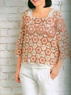 Tina's handicraft : crochet shirt with hexagon motifs