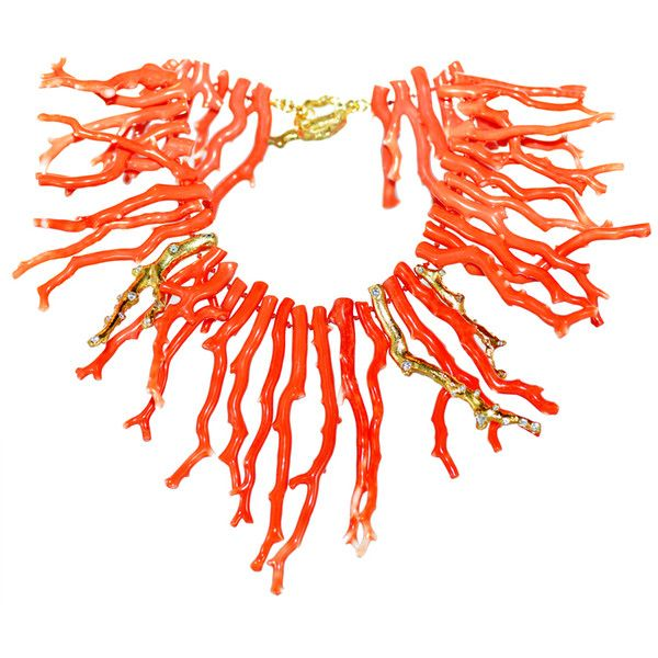 Unique Coral Necklace at 1stdibs ❤ liked on Polyvore featuring jewelry, necklaces, accessories, ariel, collane, coral jewellery, coral necklace and coral jewelry