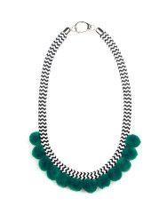Csíkos pom pom nyaklánc Leírás: Fekete fehér csíkos kötél nyaklánc zöld pom pommal.Nikkelmentes ródiumozott kupakokkal és rozsdamentes T-kapoccsal.  Összetétel: Poliészter kötél pom pom ródiumozott kupakokacél kapocs.  #fashion #handmadejewelry #handmade #jewelry #unique #design #casseljewelry #fashionjewelry #jewelrydesign