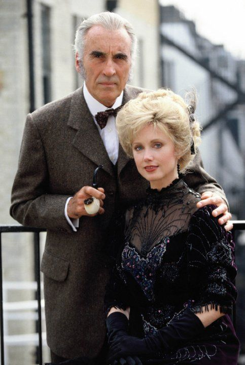 Morgan Fairchild and Christopher Lee at event of Sherlock Holmes y la prima donna (1991)