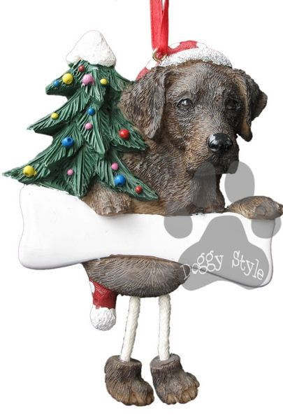 Dangling Leg Chocolate Labrador Christmas Ornament http://doggystylegifts.com/products/dangling-leg-chocolate-labrador-christmas-ornament