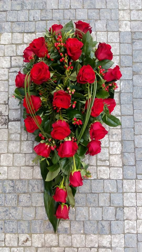Funeral Flowers with Red Roses & Hypericum