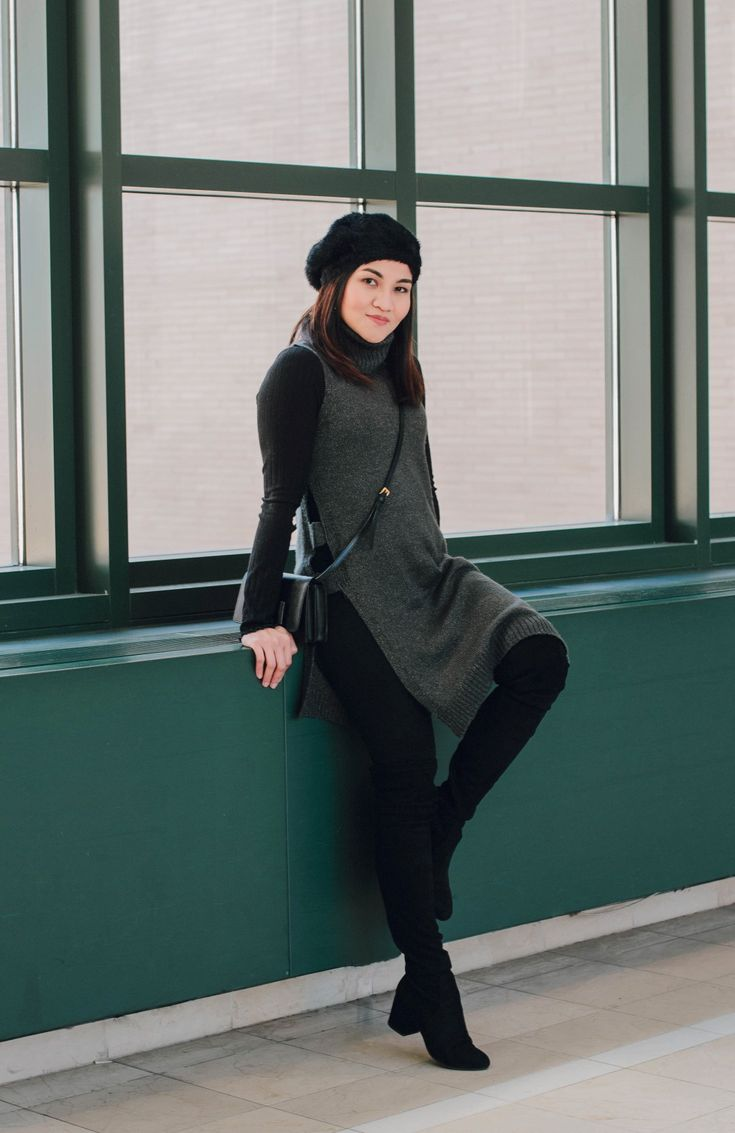 April Was Here - Black and Grey outfit for sweater weather