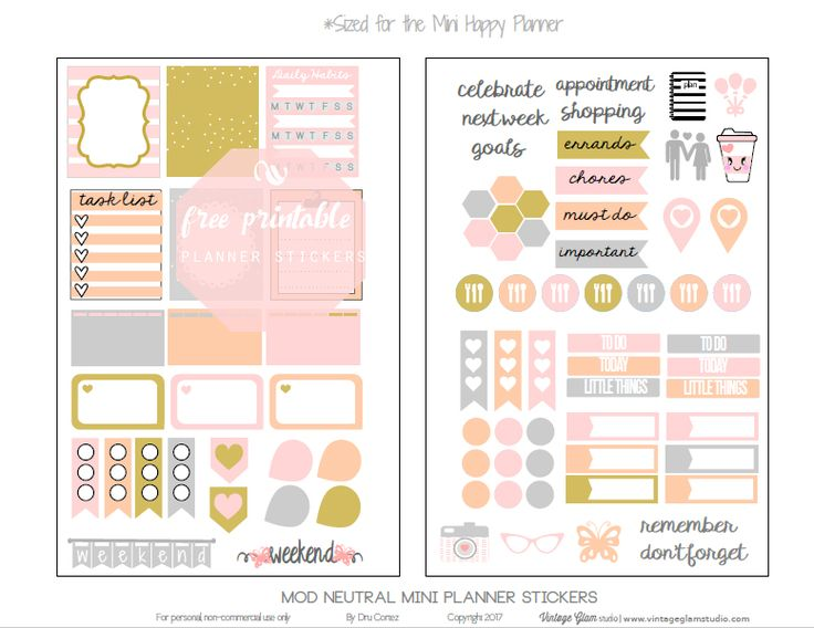 """Hello peeps! So, this is my first official freebie printable for the new year!  Today, I am excited to release another newly sized """"freebie"""" printable that I designed with """"planner stickers"""" that will fit my newly purchased Mini Happy Planner. This is sucha great, portable planner size. I'm still trying to decide what type … Continue reading Mini Happy Planner – Mod Neutral Planner Stickers →"""