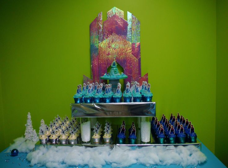 Frozen cupcake stand. Elsa castle credited to http://completelytypea.wordpress.com/2014/05/18/how-to-make-elsas-ice-castle-from-disneys-frozen.