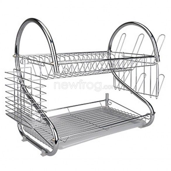S-Shaped Dual Layer Dishes Plate Cup Bow Detearing Draining Plating Rack  Photo 1