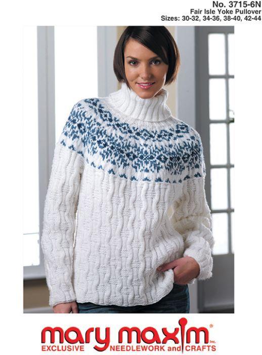 b3dfd7f0d Mary Maxim - Fair Isle Yoke Pullover Pattern