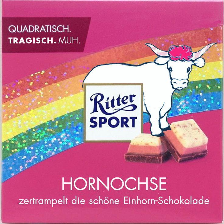 Ritter Sport Fake Sorte - Einhorn-Parodie
