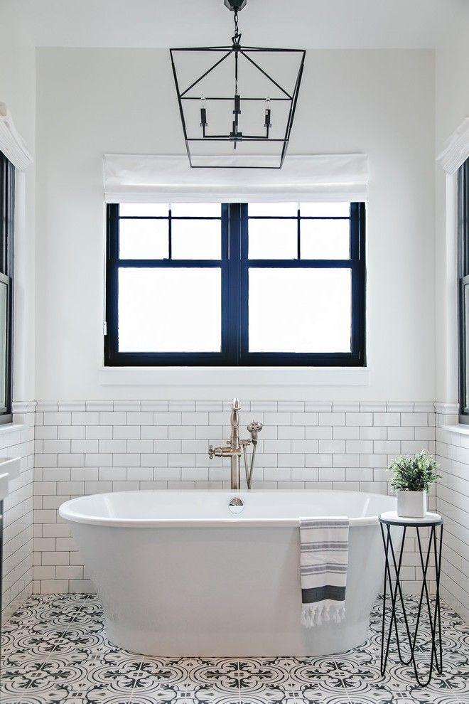 Salt Lake City Black Bathroom Floor Farmhouse With Pendant Light Over Tub Tr Modern Farmhouse Master Bedroom Farmhouse Master Bathroom Farmhouse Bathroom Decor