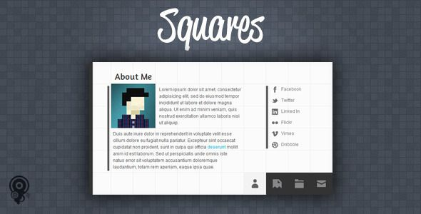 Squares - HTML5 vCard/Portfolio Template - ThemeForest Item for Sale