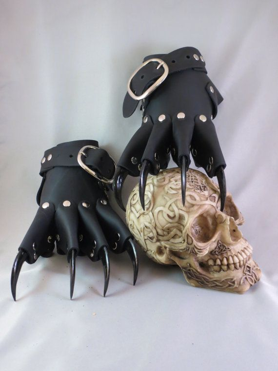 Black Leather Gothic Dragon Claw Gauntlets / by ...