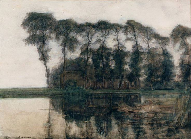 Piet Mondrian (1872 — 1944, Netherlands)Farmstead along the water screened by nine tall trees, 1905-1907watercolor and white. 53.5 x 74cm. (21.1 x 29.1 in.)