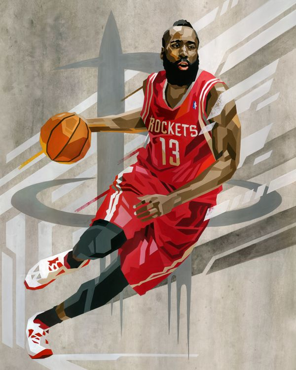 Rockets' James Harden 'Geometric' Art. Book a limo for your next Houston sporting event. Call 281-256-7239. #blackhorselimo