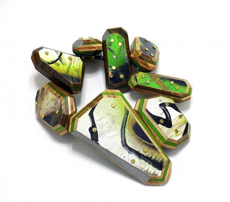 "Tara Locklear, ""Drop Deck Studded Bangle,"" 2012. Recycled skateboards, sterling silver, brass, pigment. Photo by Tara Locklear (exhib. DETRITUS)"