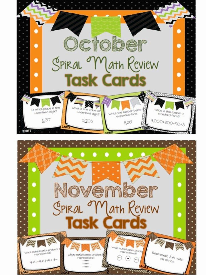 October Classroom Decor : October and november sprial math review task cards fall