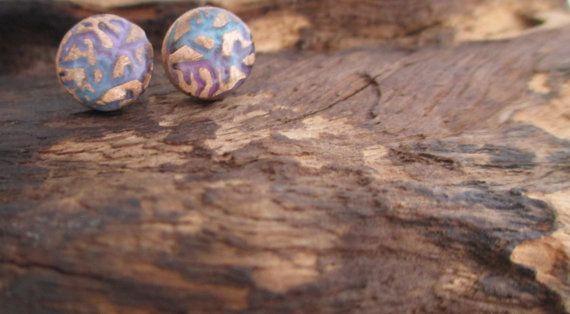Woodland Stud Earrings Bronze Precious Metal Clay by KemeJewellery