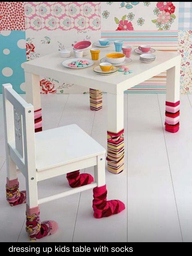 Great kids playroom ideas - socks on tables and chairs - cute