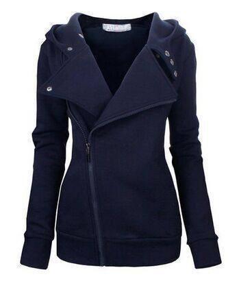 Women hoodies sweatshirt 2017 new European casual autumn winter fleece incline zipper metal button warm hooded coat S3397