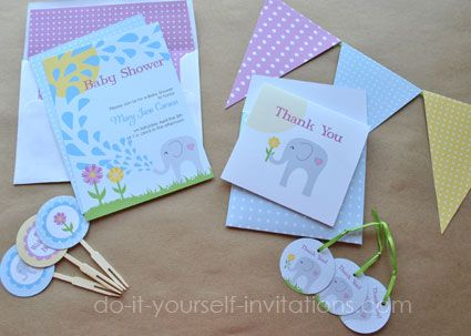Printable Elephant Baby Shower Invitation Kit: Includes 5x7 Invitation,  Envelope Liner, Cupcake Topper