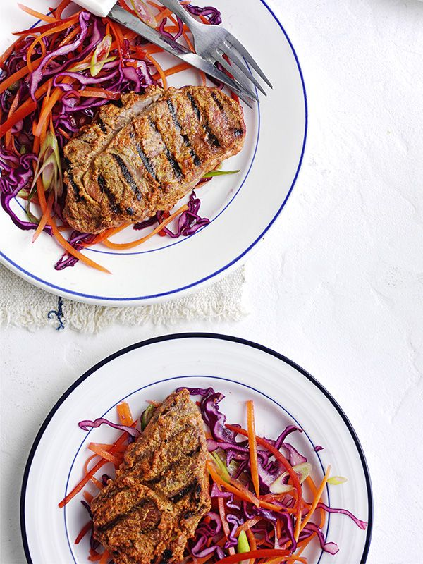 This recipe for tandoori lamb steaks with chilli-spiked slaw ticks all the boxes as it's low cal, low fat, low sugar, low salt and high in protein. Plus, it's really easy to make.
