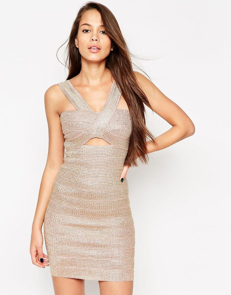 Image 1 - ASOS - SCULPT - Mini robe bandage premium avec fils en or rose effet métallisé