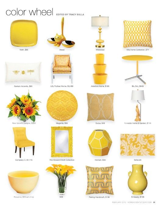 Possible yellow accent pieces to add a pop sparingly