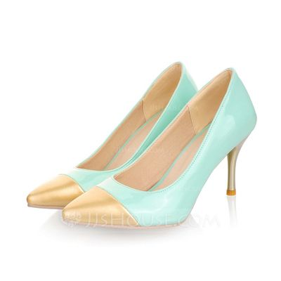 Leatherette Cone Heel Pumps Closed Toe shoes (085042605)