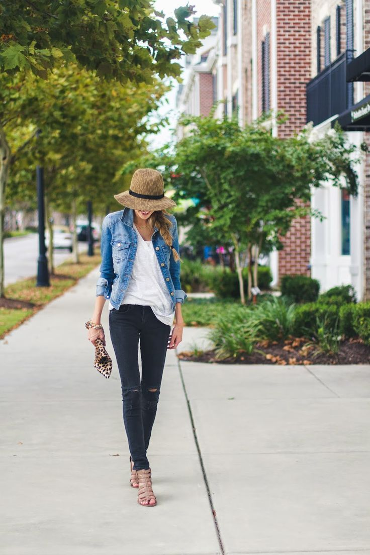 Blue denim jacket, black jeans, white top, leopard bag, beige hat, tan shoes sandals, lunch, Spring