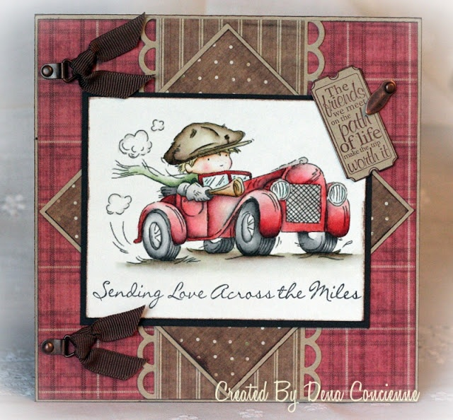 handmade card ... adorable vintage look image of a boy in his roadster ... beautful coloring on this one ...