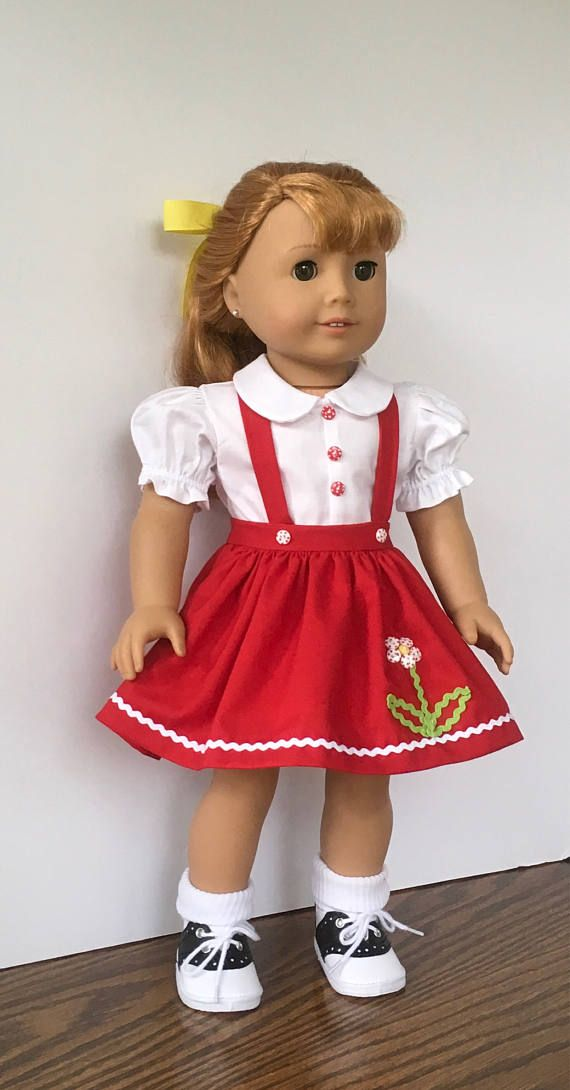18 doll red skirt with flower applique white blouse and