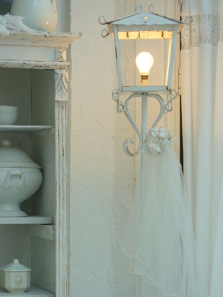 Outside lamp for inside Whitewashed Cottage chippy shabby chic french country rustic swedish decor idea