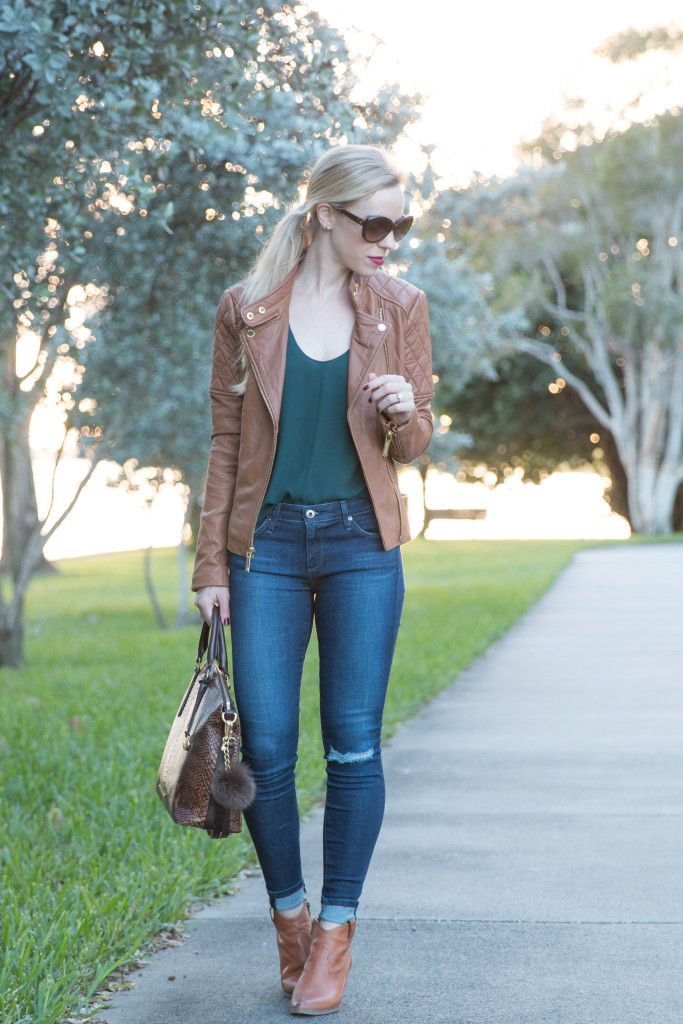 { Florida Sunset: Camel leather jacket, Forest green blouse & Western booties }