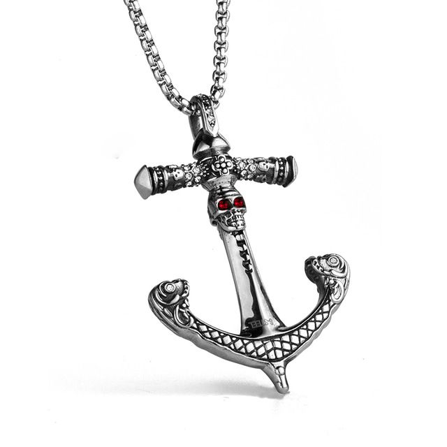 New Men's Punk Red Crystal Eyes Skull Pirate Anchor Pendant Necklace Stainless Steel Titanium Chain Male Jewelry Gifts Wholesale