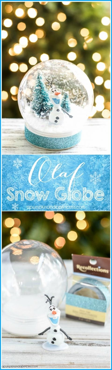 DIY Disney Frozen Olaf Snow Globe - kids will love this handmade waterless snow globe made with faux snow and Olaf toy.