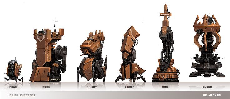 Concept chess pieces by Mr--Jack http://mr--jack.deviantart.com/art/Chess-Set-106198801 #chess