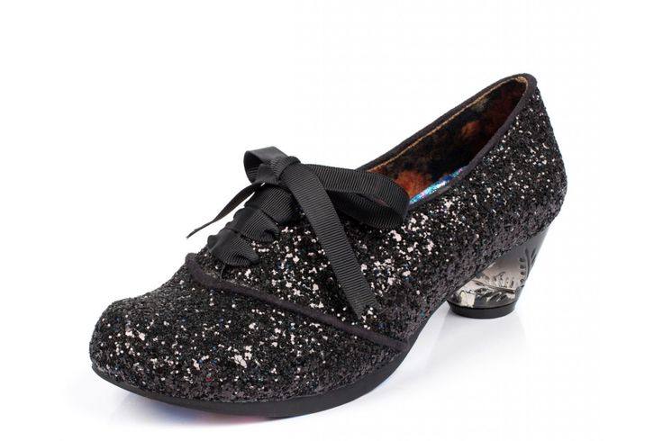 Irregular Choice Curio Low Black Glitter Low Heel Lace Up Shoes